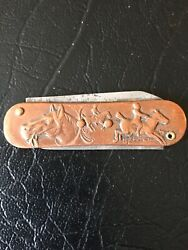 Antique Copper Picket Knife, Small Size, Horse And Dog Themes,german Sheppard