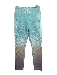 Evolution & Creation Graphic Ombre Lotus Yoga Capri Legging Pants Medium M EVCR