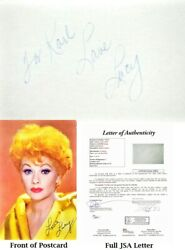 To Karl Lucille Ball Signed Postcard - I Love Lucy Deceased 1989 - Lucy Ball Jsa