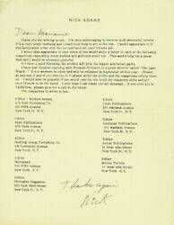 Nick Adams Signed Autographed Fan Club Letter Or Cut - Deceased 1968 - The Rebel