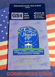 2007 Breeders Cup Grandstand Ticket Monmouth Park Bc Classic Winner Curlin