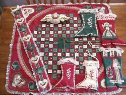 Victorian Christmas Fabric Decorations 8 Pieces - Boots Ornaments Tree Skirt