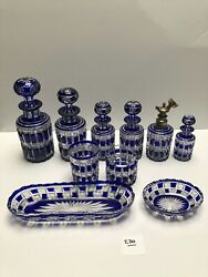 Baccarat Exceptional Perfume Set Blue Cut To Clear 10 Pieces 270