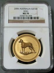 2006 Gold Australia 100 Series 1 Lunar Year Of The Dog 1 Oz Ngc Mint State 70