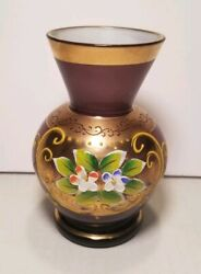 Vintage Czech Bohemian Small Vase Enameled Flowers Purple Hand Painted