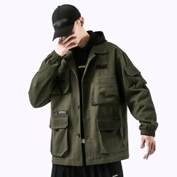 Summer Menand039s Cargo Hooded Jacket Long Sleeve Loose Fit American Style Outwear L