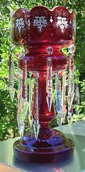 """Glass 14 1/2"""" Ruby Red Luster Ornamental, 2 Tiers Of 16 Hanging Crystals"""