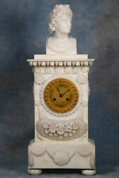 Antique French Carved Alabaster And Bronze Clock Early 1800s Great Condition
