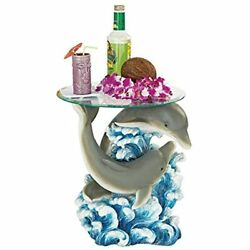 Dolphin Cove Glass-topped Sculptural Table Patio Tables Garden Andamp Outdoor
