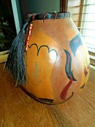 Gourd Southwest Hand Painted And Etched Bowl/vase In Cowboy Boot Design Signed