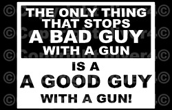 The Only Thing That Stops A Bad Guy With A Gun Decal Bumper Sticker Us Seller