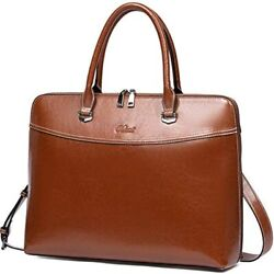 CLUCI Briefcase For Women Oil Wax Leather 15.6 Inch Laptop Vintage Business Slim