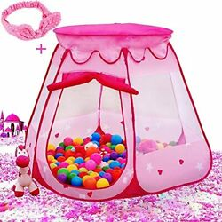 Pink Princess Tent Kids Ball Pit 1st Gift Toddler Girl Easy Pop Up Fold Into