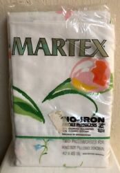 NOS Martex Pillow Cases King Size Floral Tulip Daffodil No Iron Percale Vintage