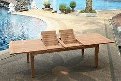 9-piece Outdoor Teak Dining Set 122 Rectangle Extn Table 8 Arm Chairs Leno