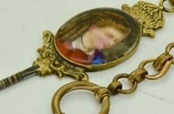 Rare Antique 19th C. Victorian Painted Porcelain Key Fob And Pocket Watch Chain