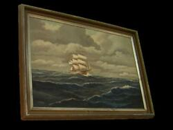 Antique Large Clipper Maritime Nautical Galleon Sailing Signed Oil Painting.