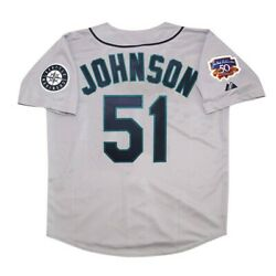 Randy Johnson Seattle Mariners 1997 Grey Road Menand039s Jersey W/ Jackie 50th Patch