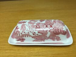 """England Churchill Red Willow 7 1/2"""" Covered Butter Dish - Excellent"""
