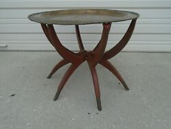 Spider Legs Coffee Table Moroccan + Brass Top Indian Mid-century Modern Folding