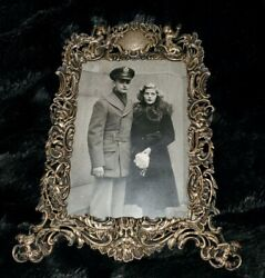 Vintage Sterling Silver Ornate Picture Frame Cherubs And Green Man