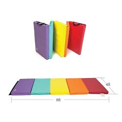 2 Thick Folding Aerobic Gymnastics Yoga Mat With Carrying Strap Five Panels 8ft