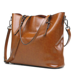 Women Retro Genuine Leather Oil Wax Bucket Handbag
