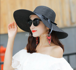 Women Floppy Sun Beach Straw Hats Wide Brim Packable Summer Cap USA Seller $7.89