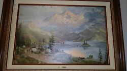 Thomas Kinkade The Edge Of The Wilderness Oil On Canvas Painting,low,free Ship