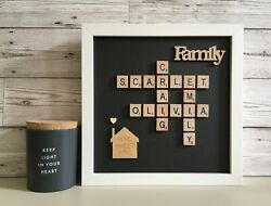 F Scrabble Picture Frame Family Friends New Home Love Engagement Wedding Black