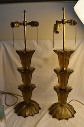 Pair Murano Controlled Bubble Art Glass Table Lamps Mid Century Modern Mcm Large