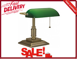 Cfl Bankers Desk Lamp With Green Glass Shade V-light Traditional Antique Bronze