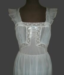 Vintage 1940's Goddess Nightgown Luxite By Holeproof Pale Ice Blue Sz Sm