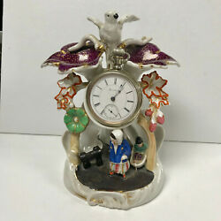 F283 Vintage Ceramic Pocket Watch And Jewelry Holder Stand Case Collectible