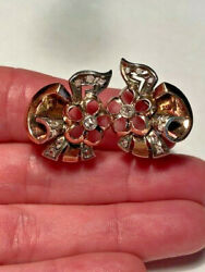 Art Deco 14k Rose Gold, Sterling And Rose Cut Diamond Pierced Floral Earrings