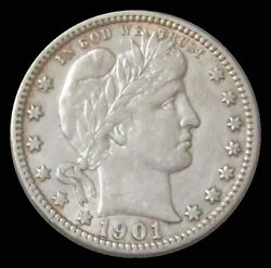 1901 O United States Silver Barber Quarter Dollar Coin Extra Fine Condition