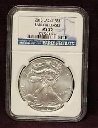 2013 American Eagle 1 Early Releases Ms70 Ngc 1oz. Silver Coin