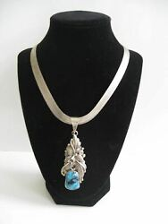 Vntg. Native American Navajo Roie Jaques Silver And Turquoise Necklace And Pendant