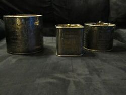 English Breakfast Tea Tins Lot Of 3 Round Oval And Square Vintage Silver Plated