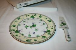10-3/4 Flowers And Berries/grapes Cake Serving Plate And Spatula Andrea By Sadek