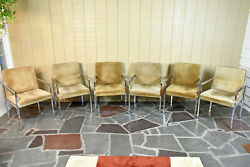 Six Mcm Founders Furniture Cdp Suede Leather And Polished Chrome Steel Arm Chairs