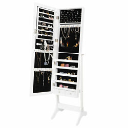 Full Length White Mirror Jewelry Cabinet Armoire Storage Lockable Free Standing