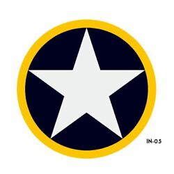 Us Army Air Force National Star In Circle With Yellow Outline Insignia Military