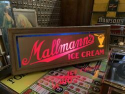 1940and039s Mullmannand039s Ice Cream Reverse Glass Backlit Advertising Sign Watch Video