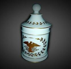 Antique French Empire Napoleon Limoges Pharmacy Apothecary Jar Eagle And Bees.