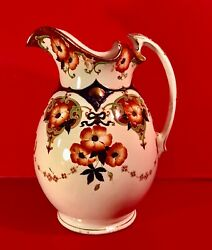 """Myott Son And Co Large English Art Nouveau Water Pitcher """"brighton"""" Pattern C1908"""