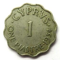 1934 King George V Cyprus One Piastre Coin..