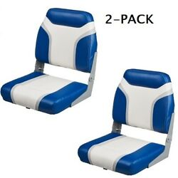2 Blue And Gray Folding Boat Seats Low Back Uv Vinyl Seat Fishing Bass Pontoon
