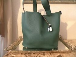 Women Luckysgy Genuine Leather Togo Bucket Handbag Padlock Green $49.99