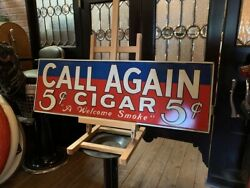 Vintage Call Again Cigar 35 Tin Advertising Sign Watch Video
